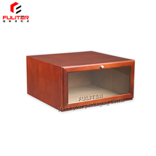 Alibaba drop front design wooden shoe box with window