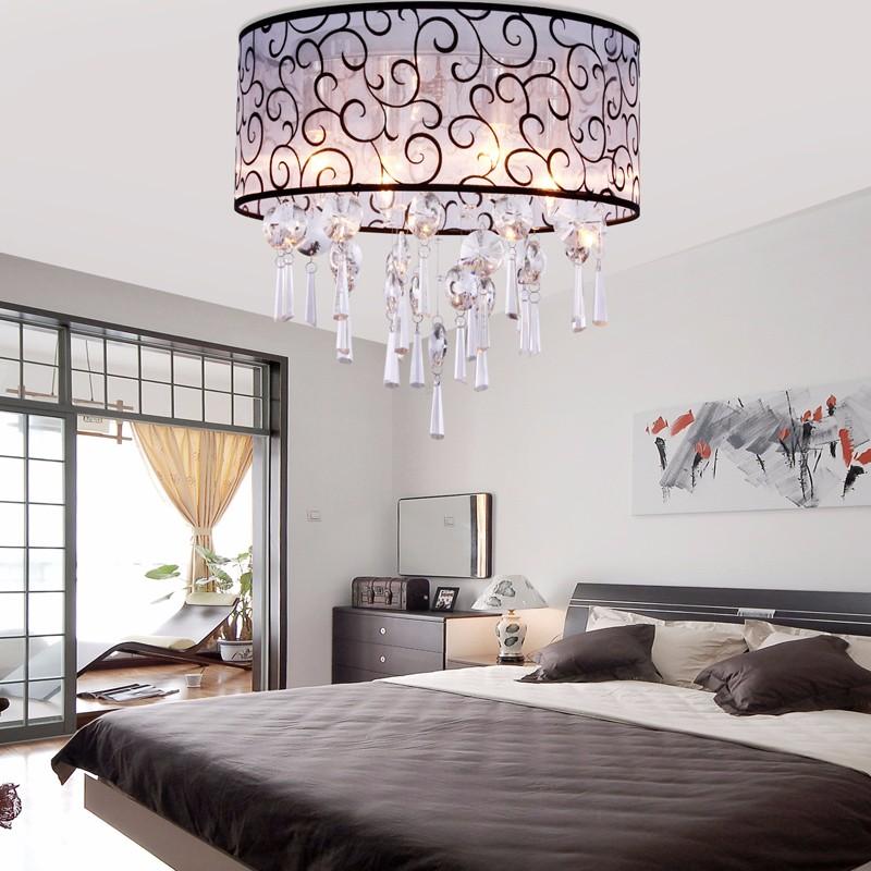 Crystal Chandelier 4 Light Drum Flush Mount Ceiling Fixture For Bedroom And Living Room
