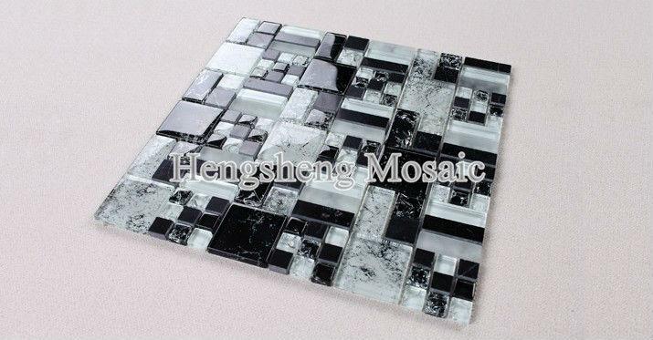 Azulejos Baño Mosaico:KS353 Azulejos de baño azulejo mosaico negro mezcla blanco barato y