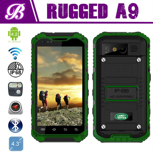 New IP68 Camera 8.0MP Battery 3000mAh Dual Sim Land Rover A9 MTK6589 Quad Core Waterproof Rugged Android Mobile Phone with NFC