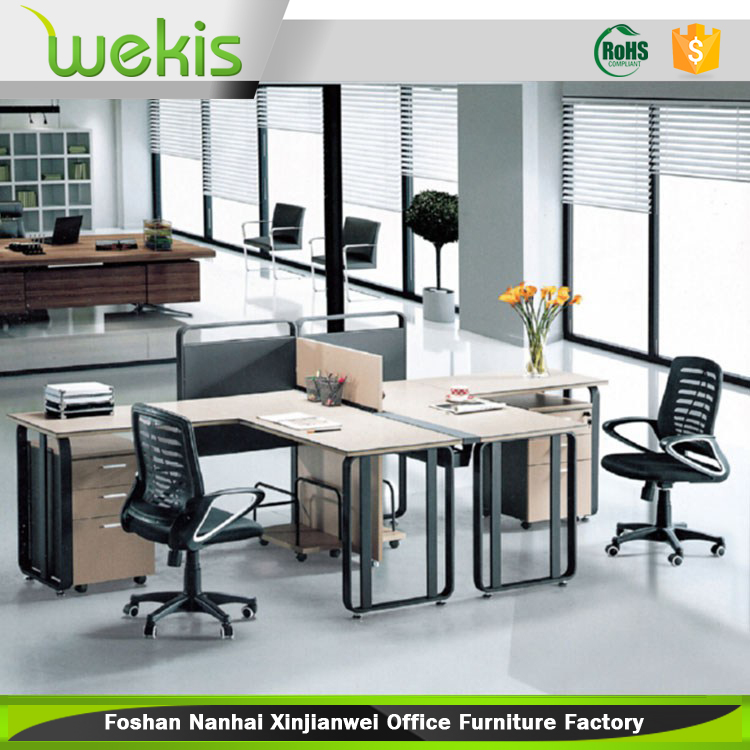 Low price modern office furniture iron computer desk for 2 for Oficina western union malaga