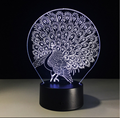 Amazon 2018 hot gifts Peacock 3D Lamps LED Lighting Fashion Desk Lights USB Novelty Gifts 7 Colors Changing