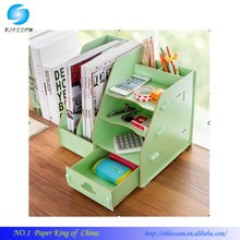 DIY Table Desktop Multifunction Wooden Hollow Books File drawer/Make up Removable Collection Organizer/Cute Desktop Storage Box