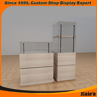 free standing glass display counter with led light