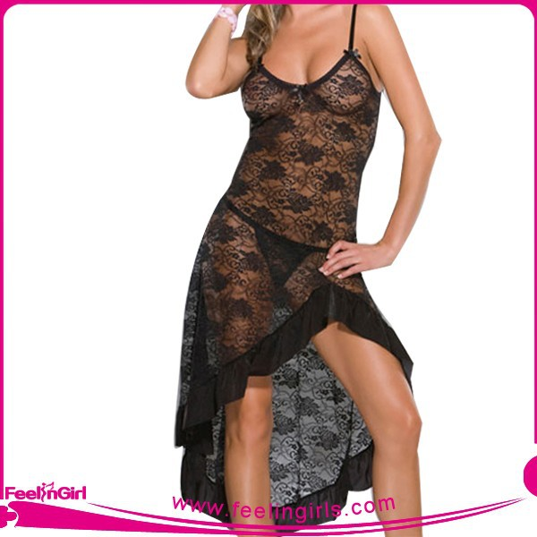 Hot Black Transparent Lace Fashion Ladies Night Sexy Dresses