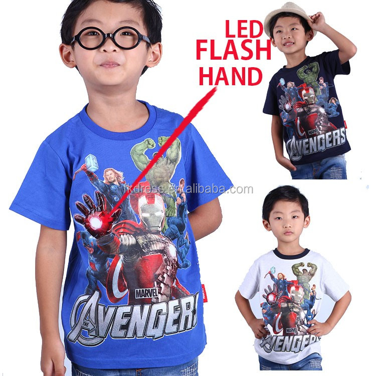 Clothes touch <strong>Activated</strong> Led Light Up Flashing T-shirt for Kids