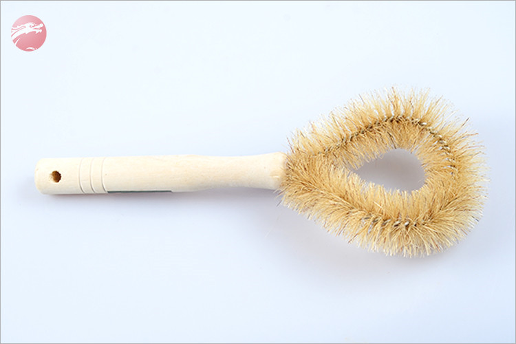 Pot Brush Wooden Handle Coconut Palm Pan Cleaning Brush For Kitchen