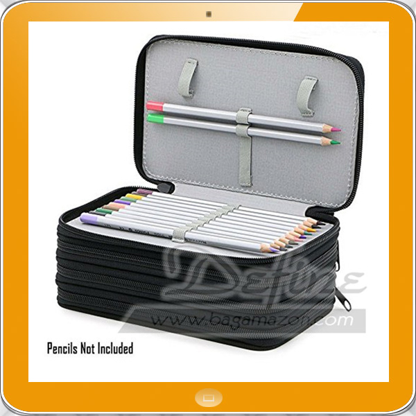 72 Slots Pen Bag Black Ripstop Nylon Pencil Case for Drawing Art