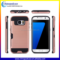 Satin Pattern Rubber PC+TPU hard phne case for Samsung S7 edge with card slots/Shockproof hybrid Back cover case for s7 edge