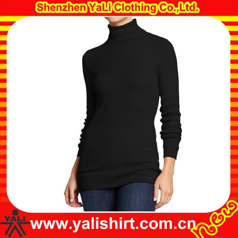 Professional custom comfortable tight long sleeve plain cotton/polyester black turtleneck sweater for women