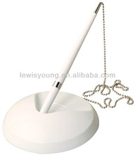 bank desk pen with chain for promotional stick on desk