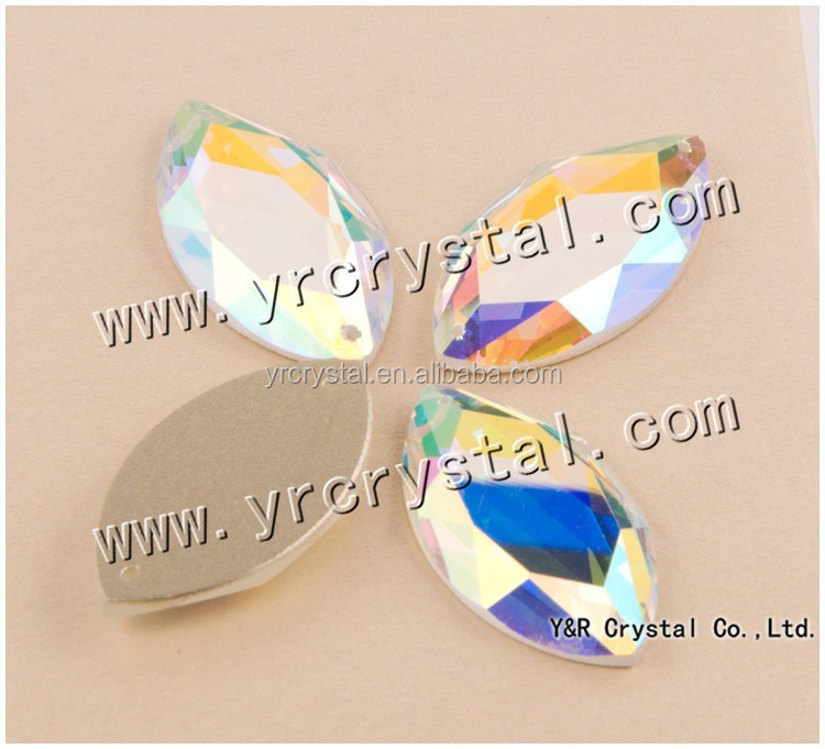 AB color mirror flat back faceted glass beads for wedding dress