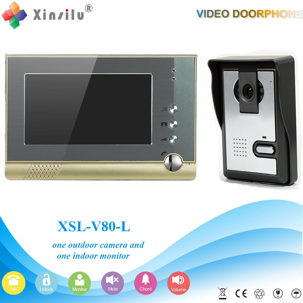 XSL-V80-L 1V1 XINSILU Manufacturer2016 Best selling building screen wired video door phone 4 wire intercom system for apartment