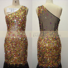 T50400 black Gold one-should mermaid heavy beaded luxury crystal beaded prom dress