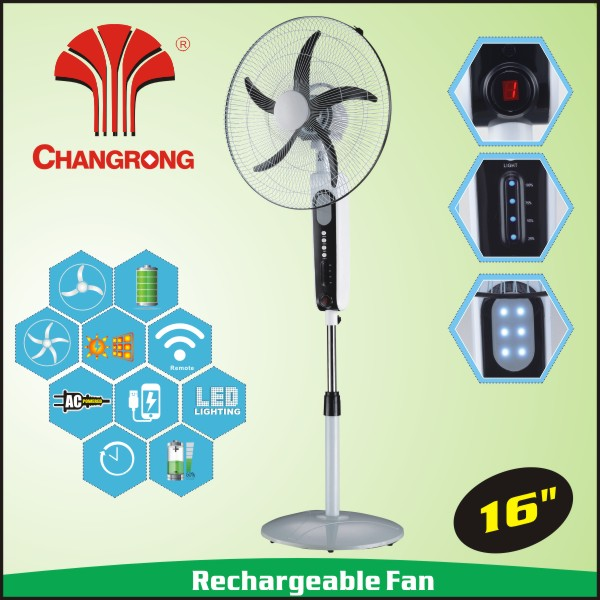 classic 16 inch rechargeable stand fan with timer function