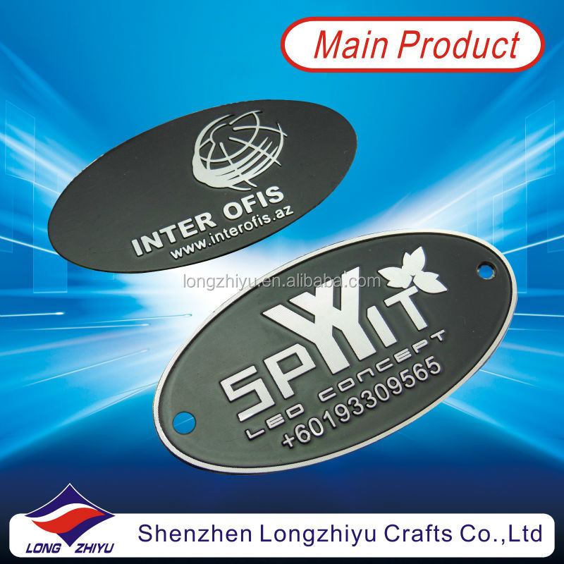 Make your own design self adhesive rivet nameplate maker,oval relief logo brushed aluminium electric motor nameplate emblem