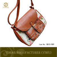 Fashion brown PU leather crossbody bags for girls