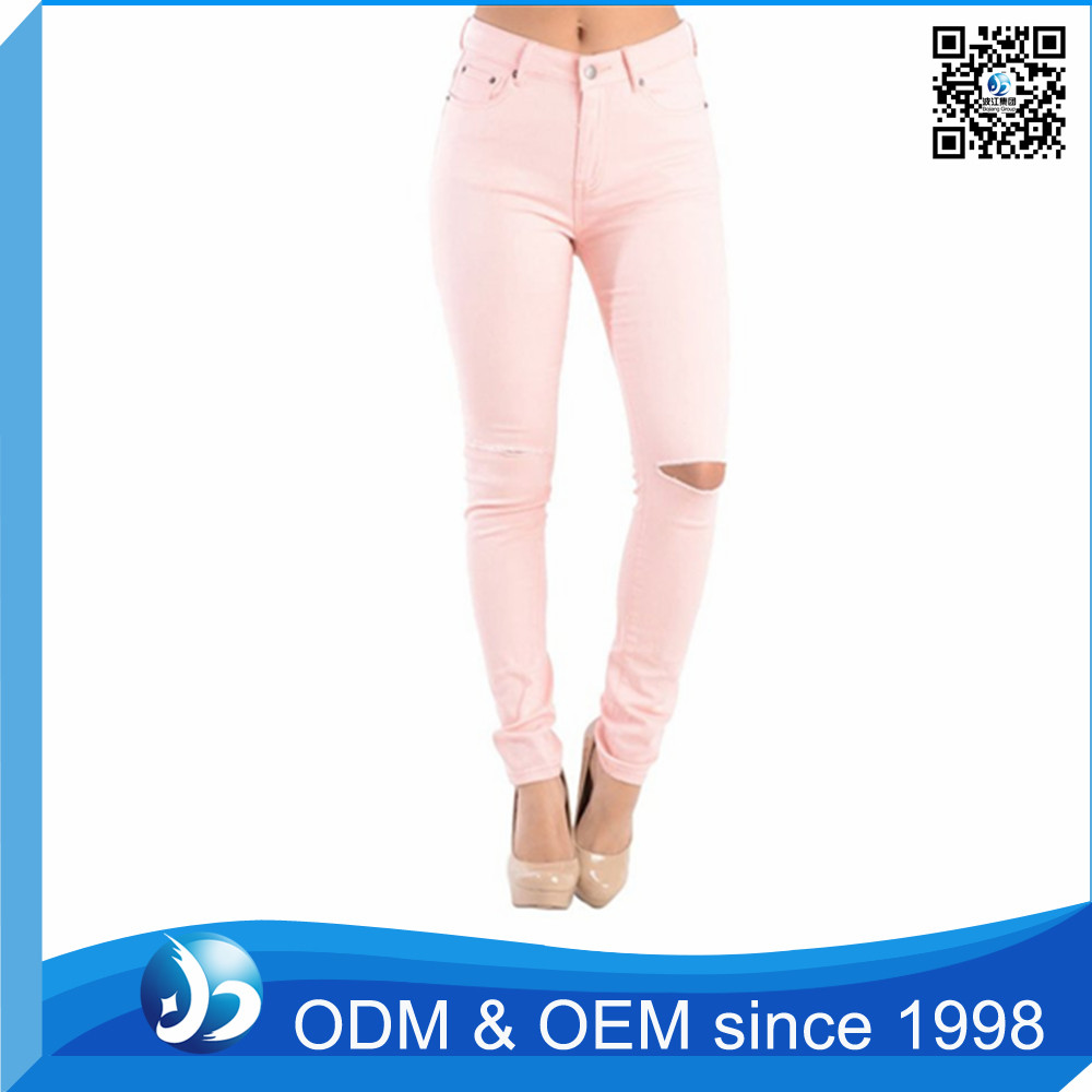 Classic Fashion Distressed Cutting Of Ladies Trousers