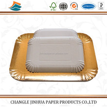 Gold silver paper plate food grade paper cake plate/tray for sale