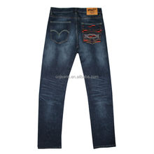 GZY newest stock fashion men jeans embroidery design back pocket