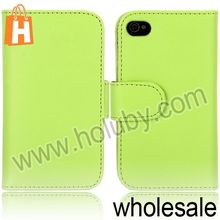 Solid Color Magnetic Cover Smooth Flip Leather Case for iPhone 4S 4 with Card Slots (7 Colors Optional)