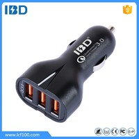 IBD 2016 new style High quality 3 usb car charger,quick charge 3.0 3 in 1 car charger with 5v 9v 12v for samsung galaxy s7