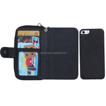 zipper detachable wallet case for iPhone 5G 5S SE, Multifunction 2 in leather case for iPhone 5