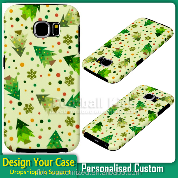 NO MOQ custom print design cover PC outer + TPU inside 2 in 1 combo case for samsung galaxy s6