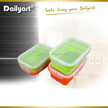 Hot Selling Microwave Safe Collapsible Silicone Lunch Box, Air-tight Silicone Folding Lunch Box