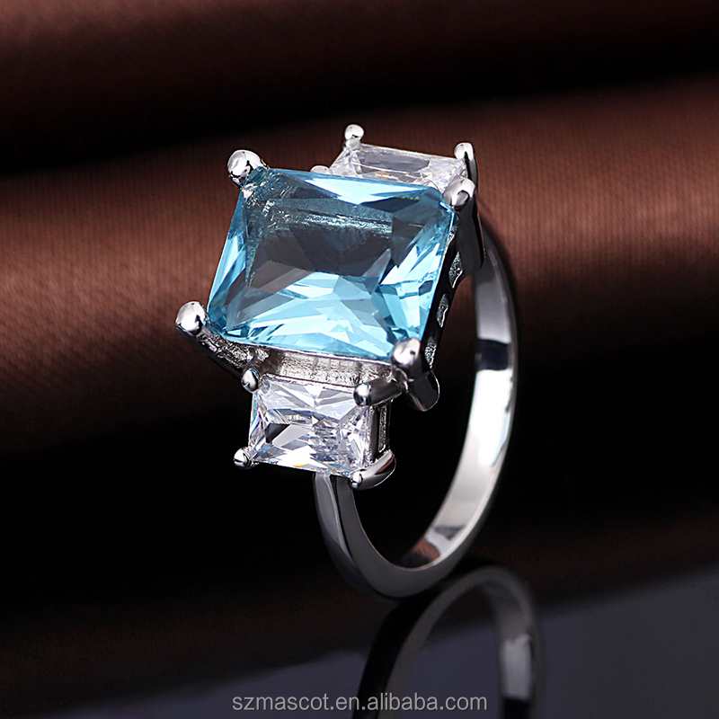 special design square shaped diamond sapphire stone ring