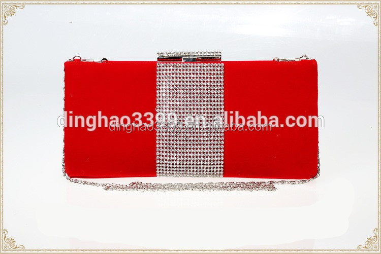Alibaba supplier graceful ladies red clutch wedding bag with long chain