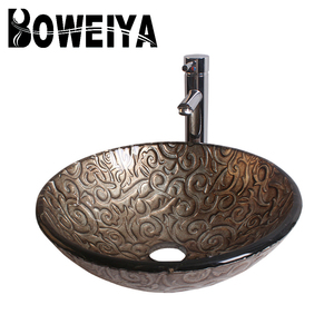 Lighten up Your Bathroom with Boweiya! Copper and Gold Antique Greek Style Tempered Glass Wash Basin