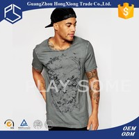 Custom printed O-neck mens bulk elongated t shirt