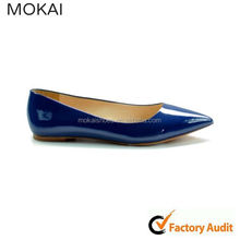 mk81-3 shiny blue summer shoes leather outsole lady flat pointed toe shoes pumps