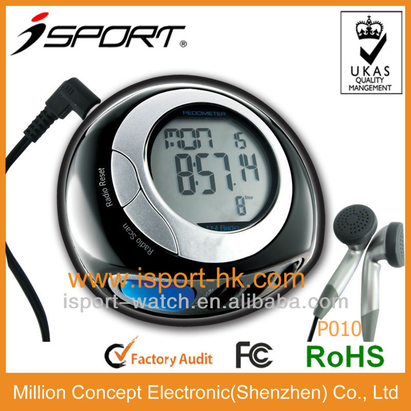 2012 Flip up FM radio digital walker pedometer