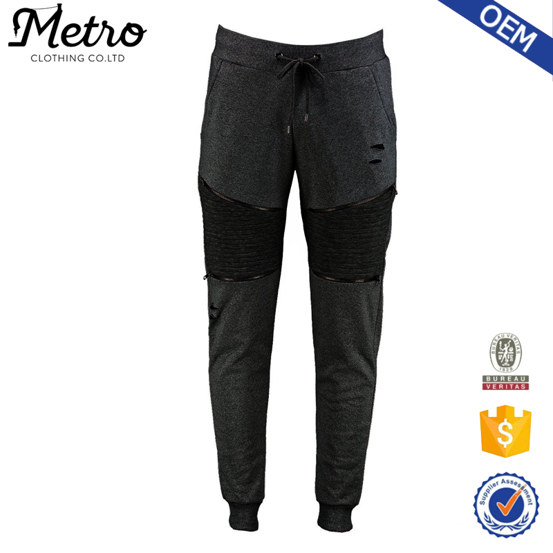 Fashion 18 Young Mens Fit Biker Jogger Pants With Rips and Zipper