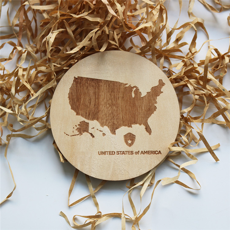 wholesale laser cut unfinished wooden USA beer cap map