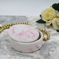 Round White and Red Marble Trinket Box Collectible Jewelry Container