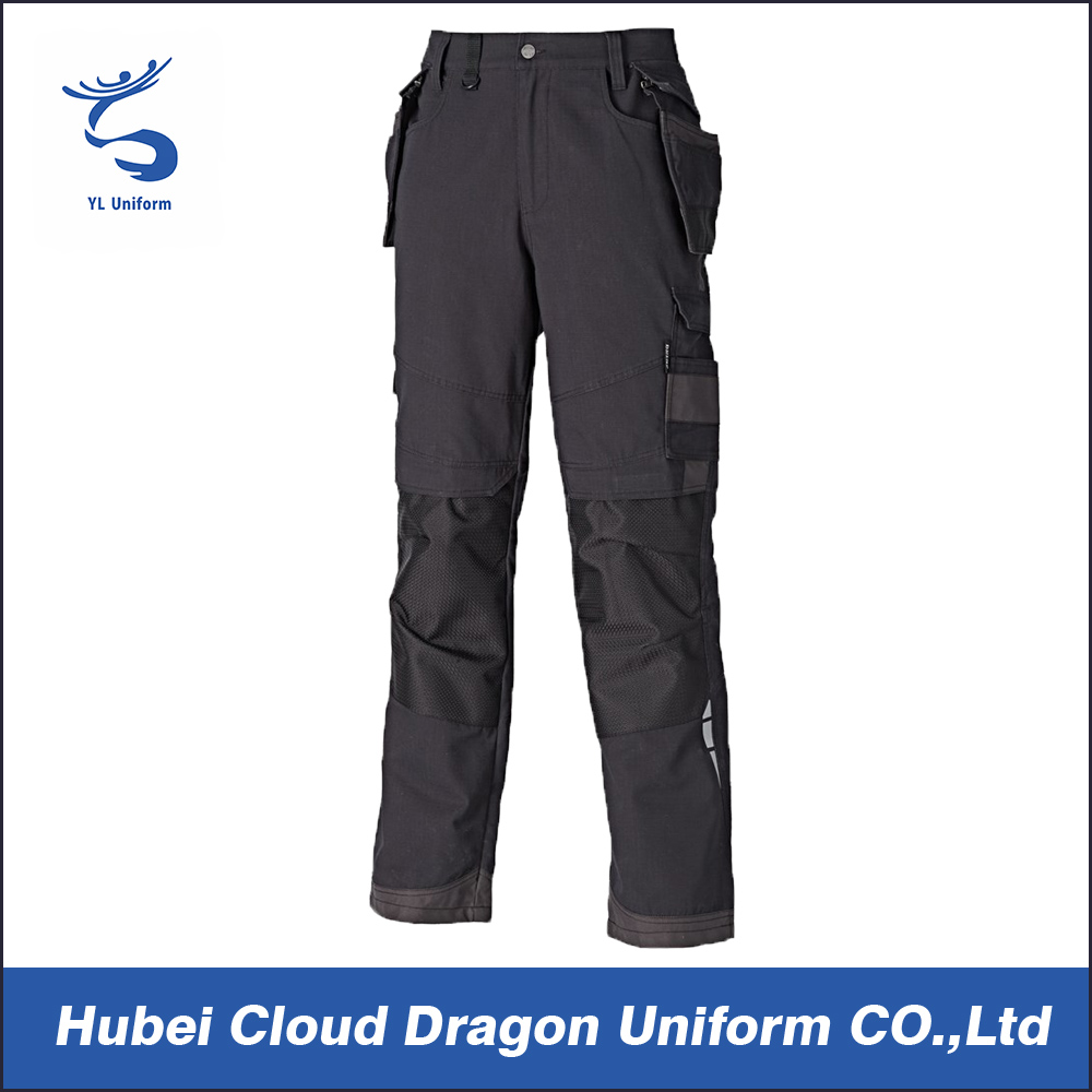 Black side pockets cargo work trousers mens training pants