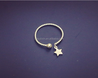 Braided designed silver star ring