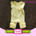 Yellow Long Leg Flutter Sleeve Onesie Shortall Monogram Blanks Toddler Baby Triple Ruffle Icing Romper For 0-24M Girls