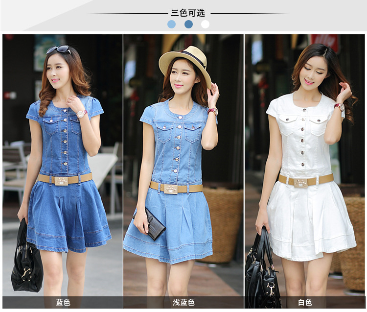 sh08 Lastest design oem spring blue o-neck short sleeve denim wash double shirt ladies dresses