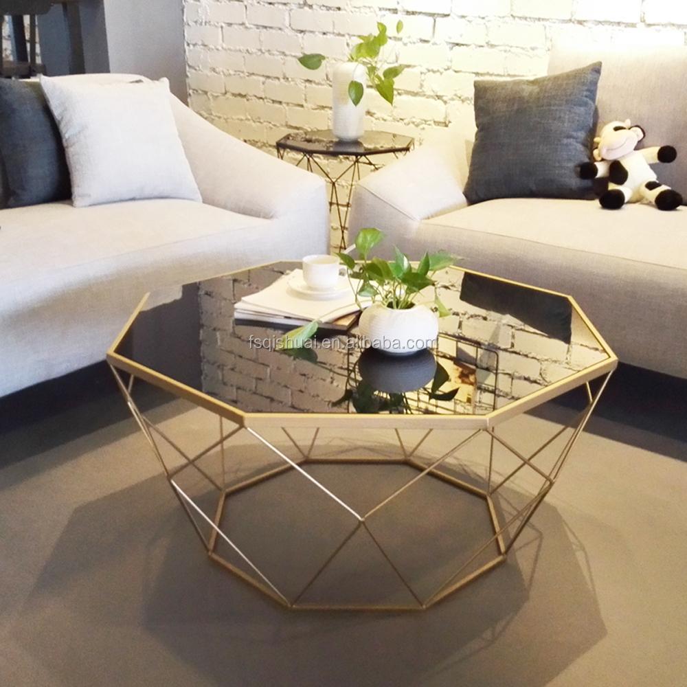 골드 금속 라운드 빈티지 유리 거울 차 커피 테이블 디자인-커피 ...