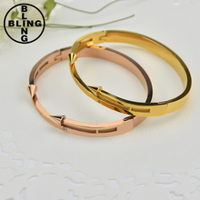 ">>>2017 Charm Conical Arrows CZ Zircon Bracelets & Bangles 18K Gold Plated ""Eternal love"" Nail Cuff Bracelet For Women"