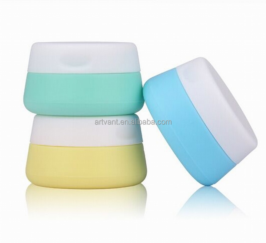 Wholesale Refillable Cream Bottles Silicone Container Empty Cosmetic Jar Pot Travel Cosmetic Container for Face Cream/Lotion
