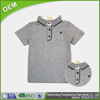 OEM plain grey children fashion cotton polo t shirt