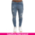 Hot fashion China wholesale skinny stretch light blue men jeans pants with holes