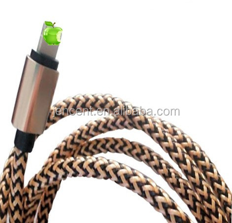 2m /3m 6feet /10feet metal braided usb data cable for iphone 5/6/7 metal braided cable