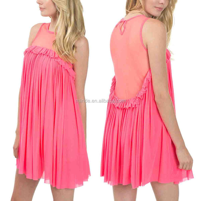 Cheap Pink Dresses Neon Pink Mesh-Panel Pleated Sexy Casual Shift Dress Wholesale Custom Manufacturer