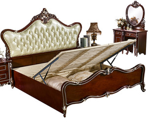2017 new french style solid wood with real leather bedroom furniture sets